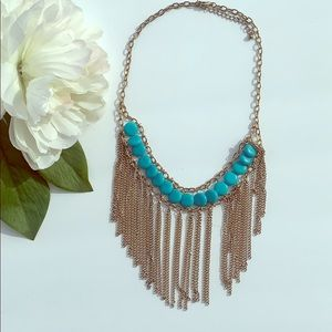 Blue and gold color statement necklace